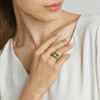18kt White Gold Emerald-Cut Peridot And Blue Tourmaline Ring - Paolo Costagli
