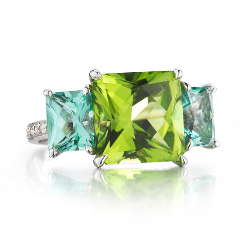Peridot and Blue Tourmaline Ring - Paolo Costagli - 1
