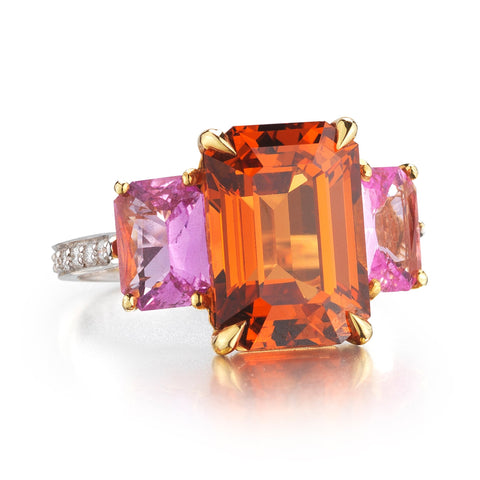 Mandarin Garnet and Pink Sapphire Ring - Paolo Costagli - 1