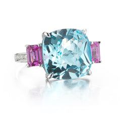 Blue Topaz and Pink Sapphire Ring - Paolo Costagli