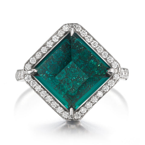 18kt White Gold Kite-Shape Indicolite Tourmaline Valentina Ring - Paolo Costagli