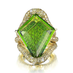 18kt Yellow Gold Kite-Shape Peridot Valentina Cocktail Ring - Paolo Costagli