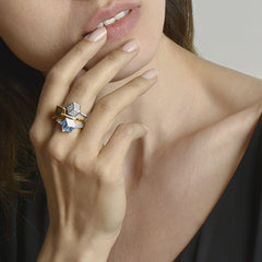 Blue Topaz White Gold Brillante® Valentina Ring, petite - Paolo Costagli