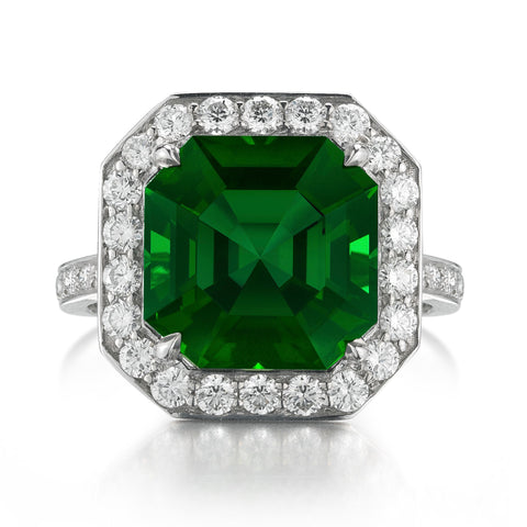 18kt White Gold Green Tourmaline and Diamond Ring - Paolo Costagli