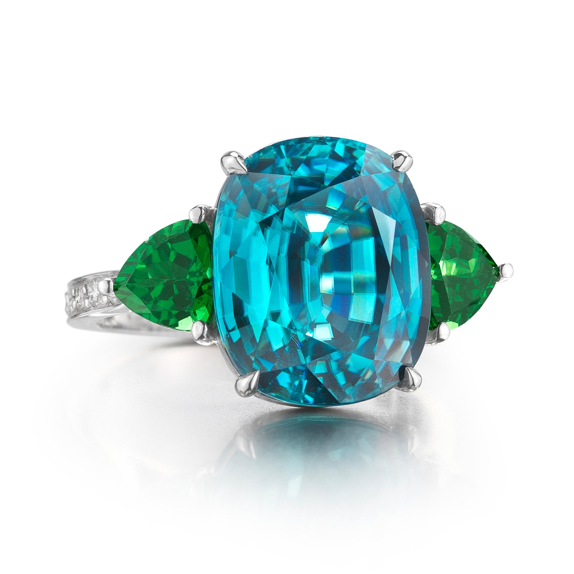 18kt White Gold Blue Zircon and Green Tourmaline Ring - Paolo Costagli