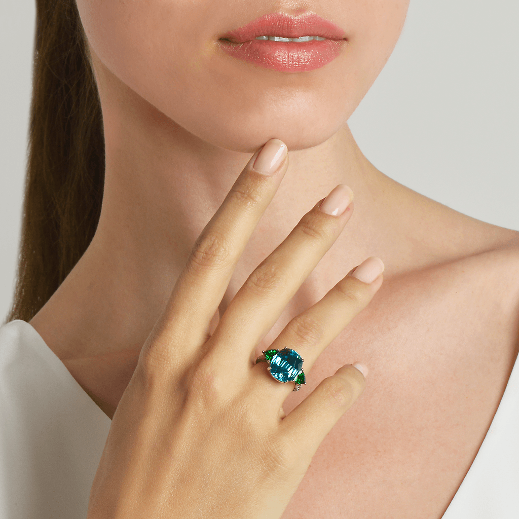 Blue Zircon and Green Tourmaline Ring - Paolo Costagli - 2