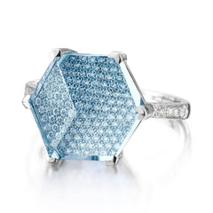 18kt White Gold Brillante® Valentina Blue Topaz And Diamond Ring, Medium - Paolo Costagli
