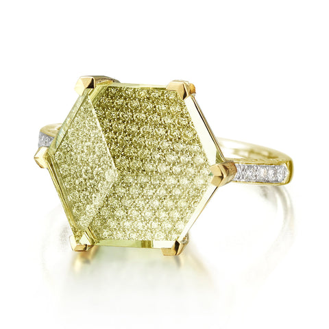 18kt Yellow Gold Brillante® Valentina Lemon Citrine And Diamond Ring, Medium - Paolo Costagli