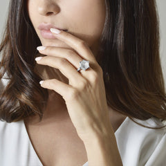 White Topaz and Diamond Brillante® Valentina Ring, White Gold - Paolo Costagli