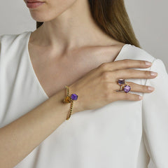 18kt Rose Gold Amethyst And Diamond Brillante® Valentina Ring, Medium - Paolo Costagli