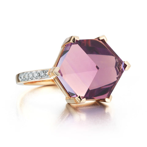 18kt Rose Gold Amethyst Diamond Brillante® Valentina Ring, Medium - Paolo Costagli