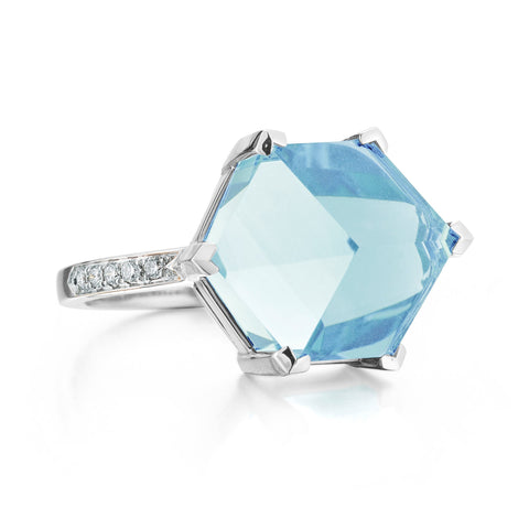 18kt white gold Blue Topaz Diamond Brillante® Valentina Ring, Medium - Paolo Costagli