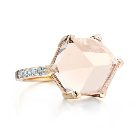 18kt Rose Gold White Topaz Brillante® Valentina  Ring, Medium