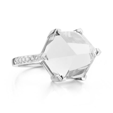 18kt White Gold White Topaz Brillante® Valentina Ring, Medium - Paolo Costagli