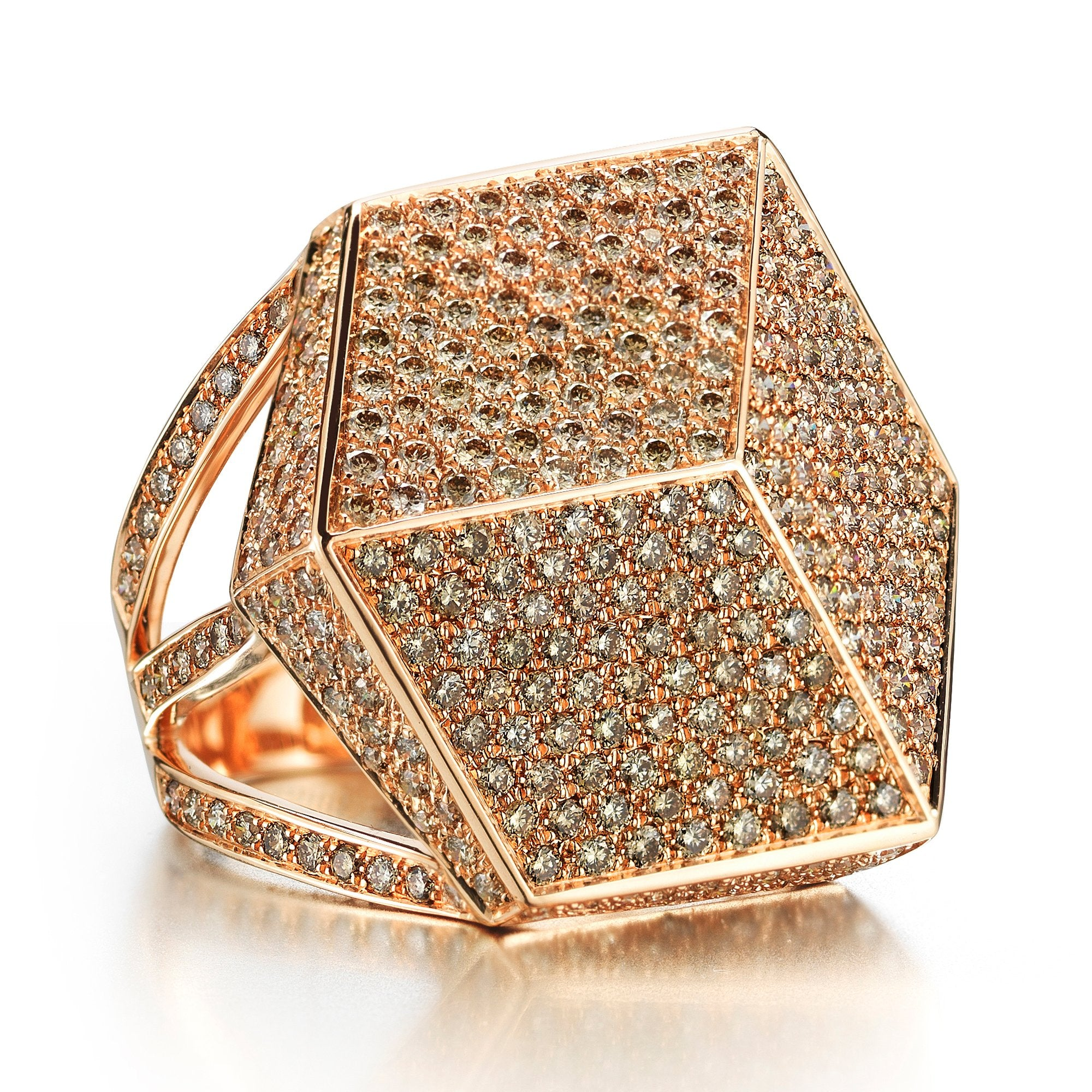ring gold champagne diamond in rose tw
