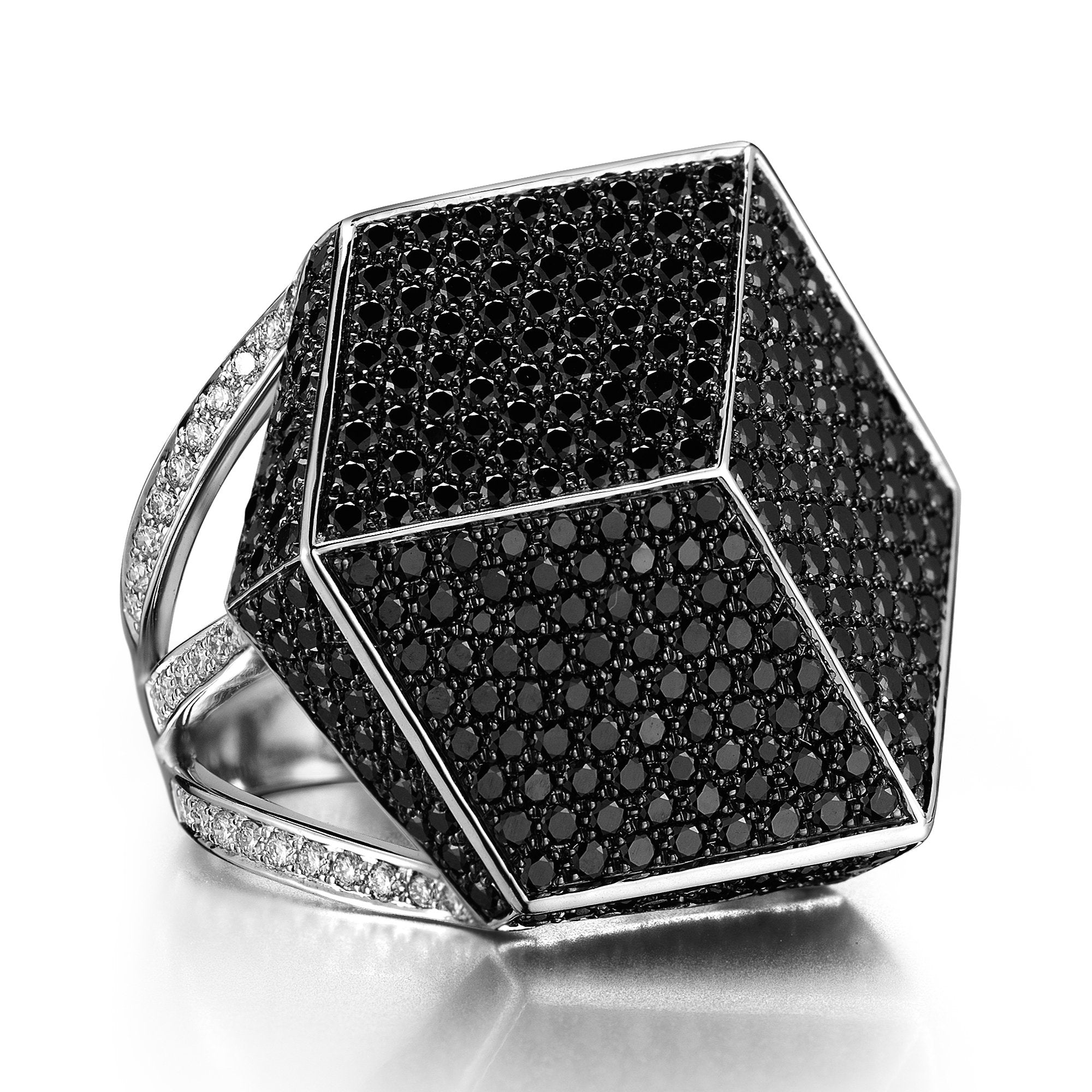 18kt White Gold Black And White Diamonds Brillante® Cocktail Ring - Paolo Costagli
