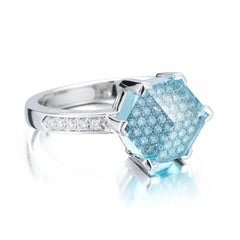 Blue Topaz and Diamond Brillante® Valentina Ring, Petite - Paolo Costagli