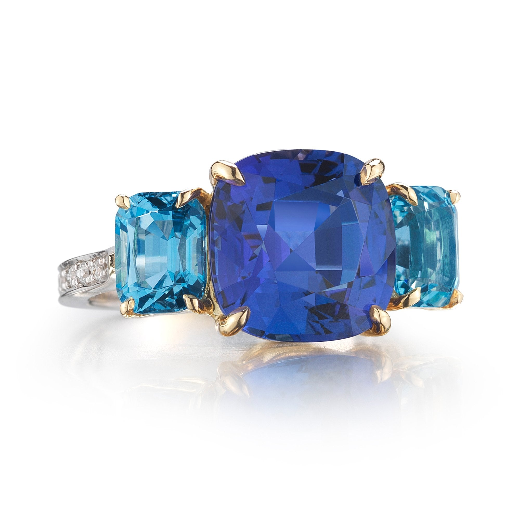18kt White Gold Cushion-Cut Tanzanite And Aquamarine Ring - Paolo Costagli