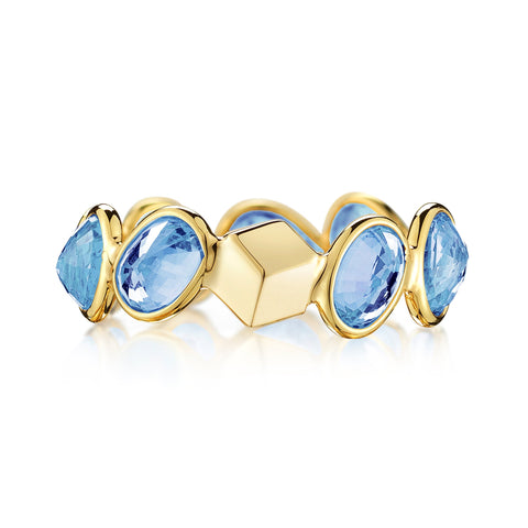 18kt Yellow Gold Blue Sapphire Ombre Ring - Paolo Costagli