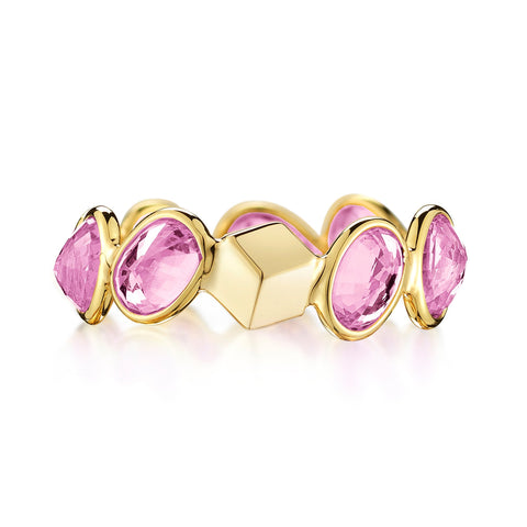 18kt Yellow Gold Pink Sapphire Ombre Band Engagement Rings - Paolo Costagli