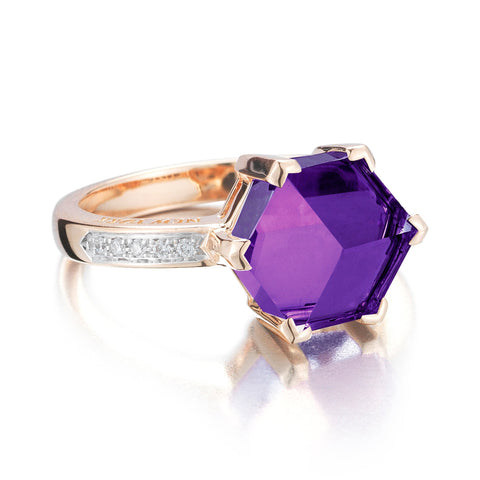 Rose Gold Amethyst Diamond Brillante® Valentina Ring, petite - Paolo Costagli