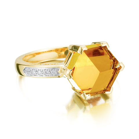 citrine yellow gold diamond ring