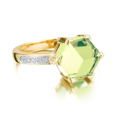 18kt Yellow Gold Green Amethyst Diamond Brillante® Valentina Ring, petite - Paolo Costagli