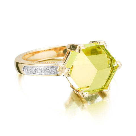 Lemon Citrine Brillante® Valentina Ring, petite