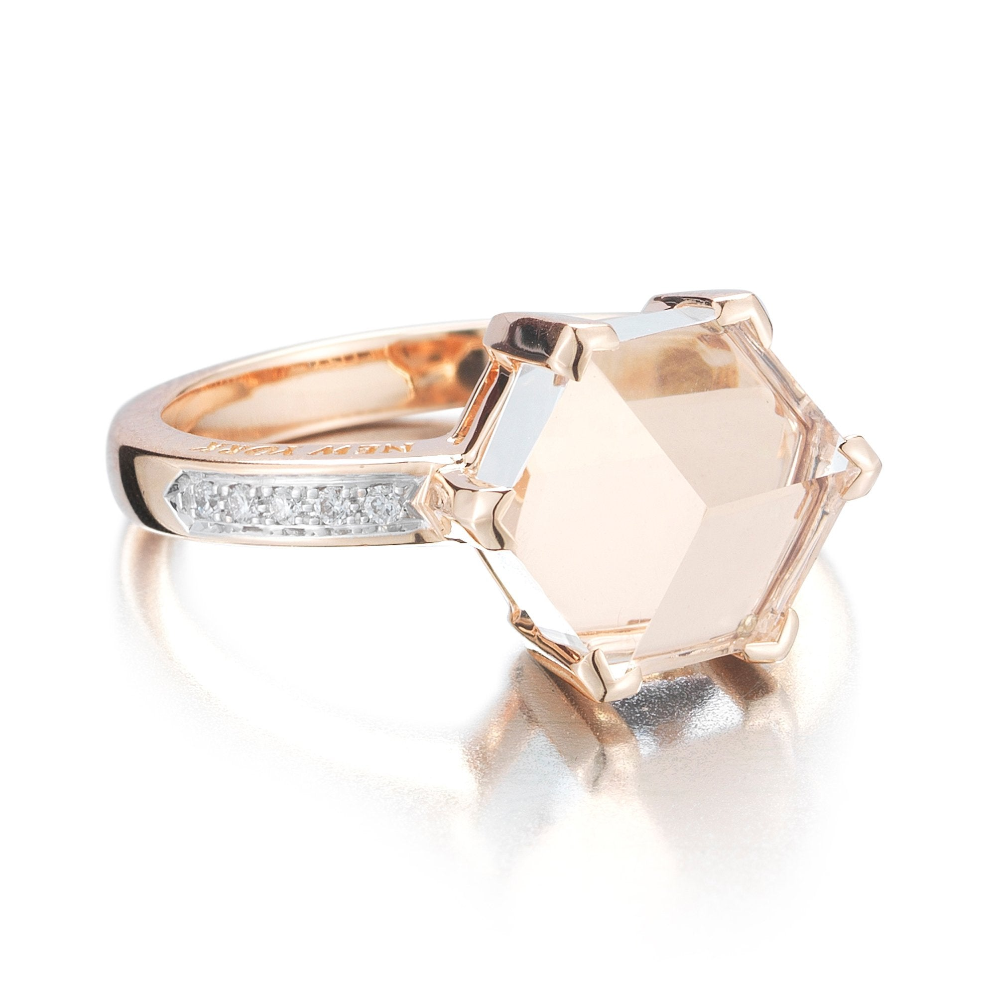 18kt White Topaz Rose Gold Brillante® Valentina Ring, petite - Paolo Costagli