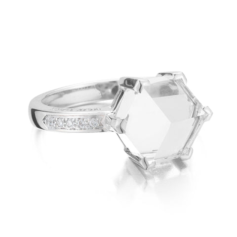 White Gold Topaz Diamond Brillante® Valentina Ring, petite - Paolo Costagli