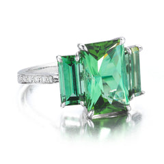 18kt White Gold Radiant Cut Green Tourmaline Ring - Paolo Costagli