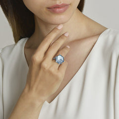 Blue Topaz and Diamond Brillante® Valentina Ring, Grande - Paolo Costagli