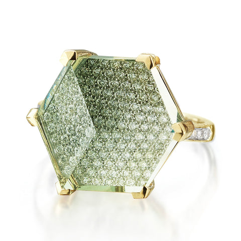 Green Amethyst and Diamond Brillante® Valentina Ring, Grande - Paolo Costagli