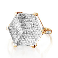18kt Rose Gold White Topaz and Diamond Brillante® Valentina Ring, Grande - Paolo Costagli