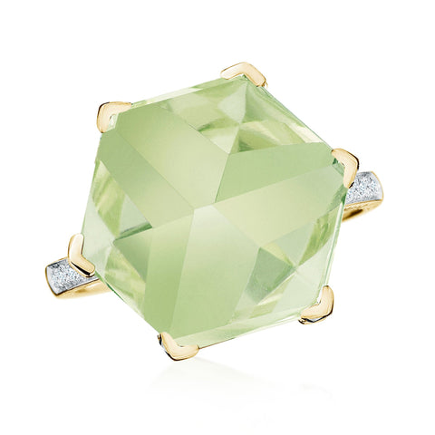 18kt Yellow Gold Green Amethyst Brillante® Valentina Ring Grande - Paolo Costagli