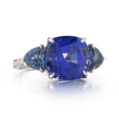 18kt White Gold Cushion-Cut Tanzanite and Blue Spinel Ring - Paolo Costagli