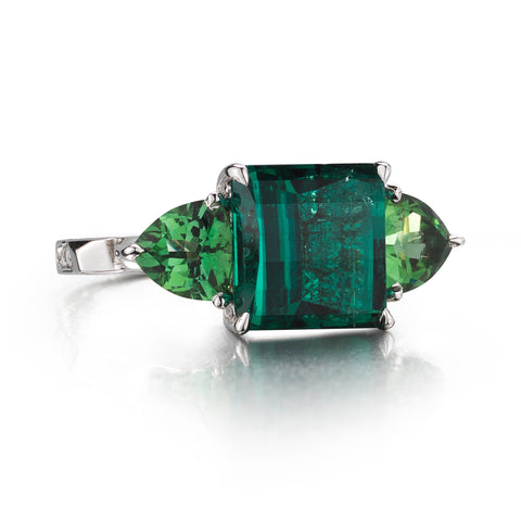 18kt White Gold Cushion-Cut Indicolite And Mint Tourmaline Valentina Ring