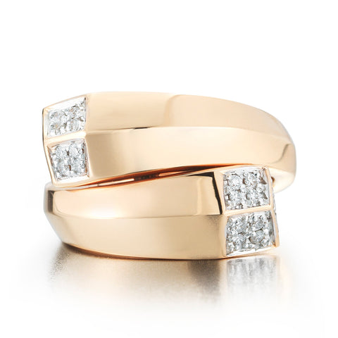 18kt Rose Gold Brillante®Contrarie Ring - Paolo Costagli