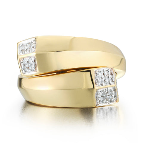 18kt Yellow Gold Brillante® Contrarie Ring With Diamonds - Paolo Costagli