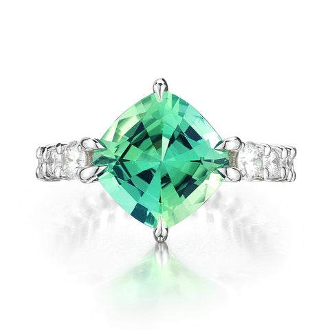 18kt White Gold Cushion-Cut Mint Tourmaline And Diamond Eternita Ring - Paolo Costagli