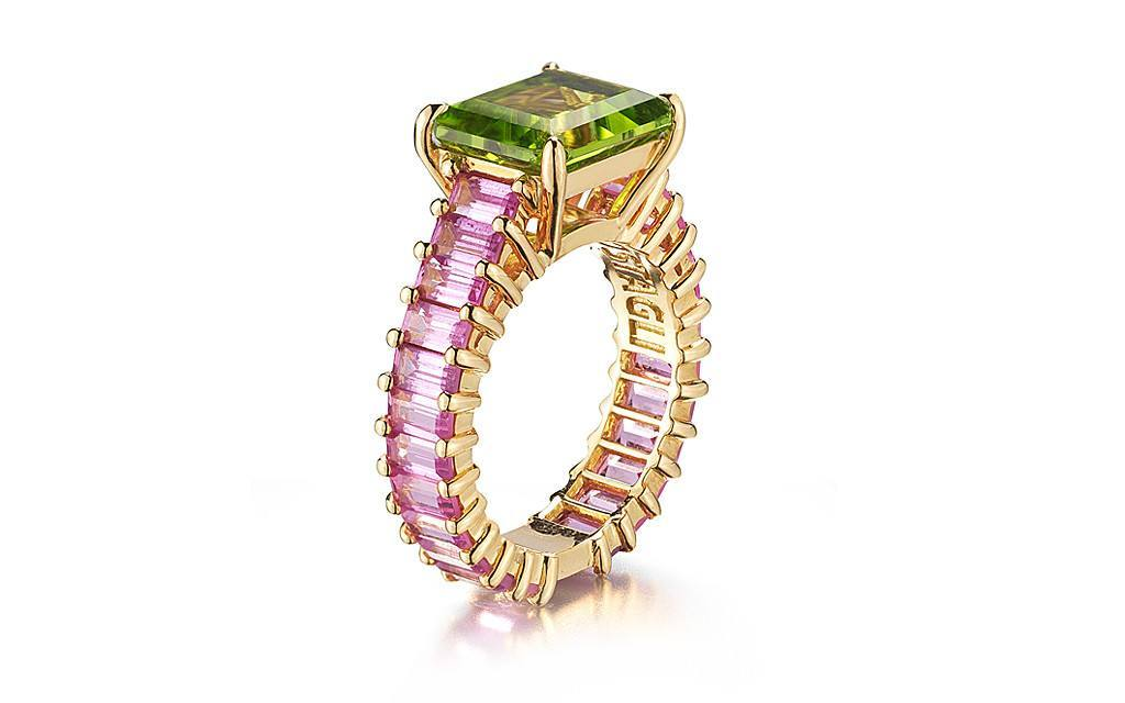 Peridot and Pink Sapphire 'Eternita' Ring - Paolo Costagli - 1