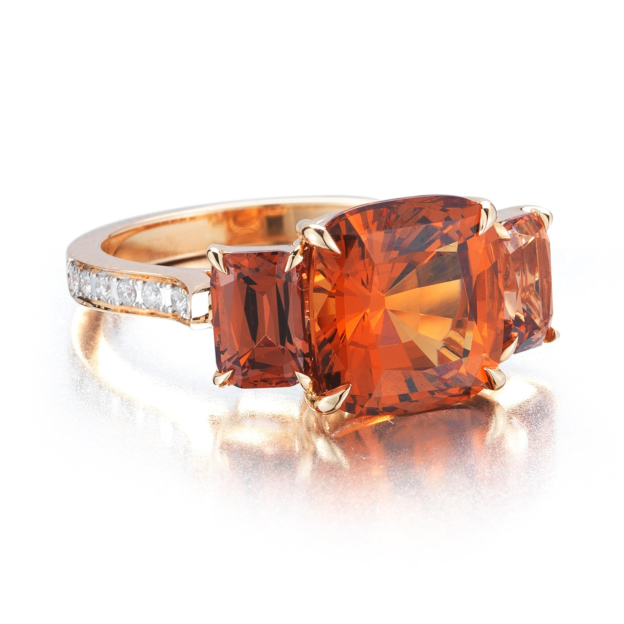 Hessonite Garnet and Malaya Garnet Ring