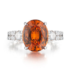18kt White Gold Mandarin Garnet And Diamond Eternita Ring - Paolo Costagli
