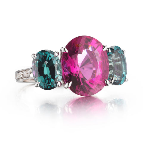 oval-cut pink tourmaline ring