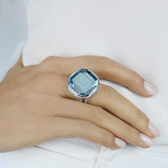 18kt White Gold Aquamarine and Diamond Ring - Paolo Costagli