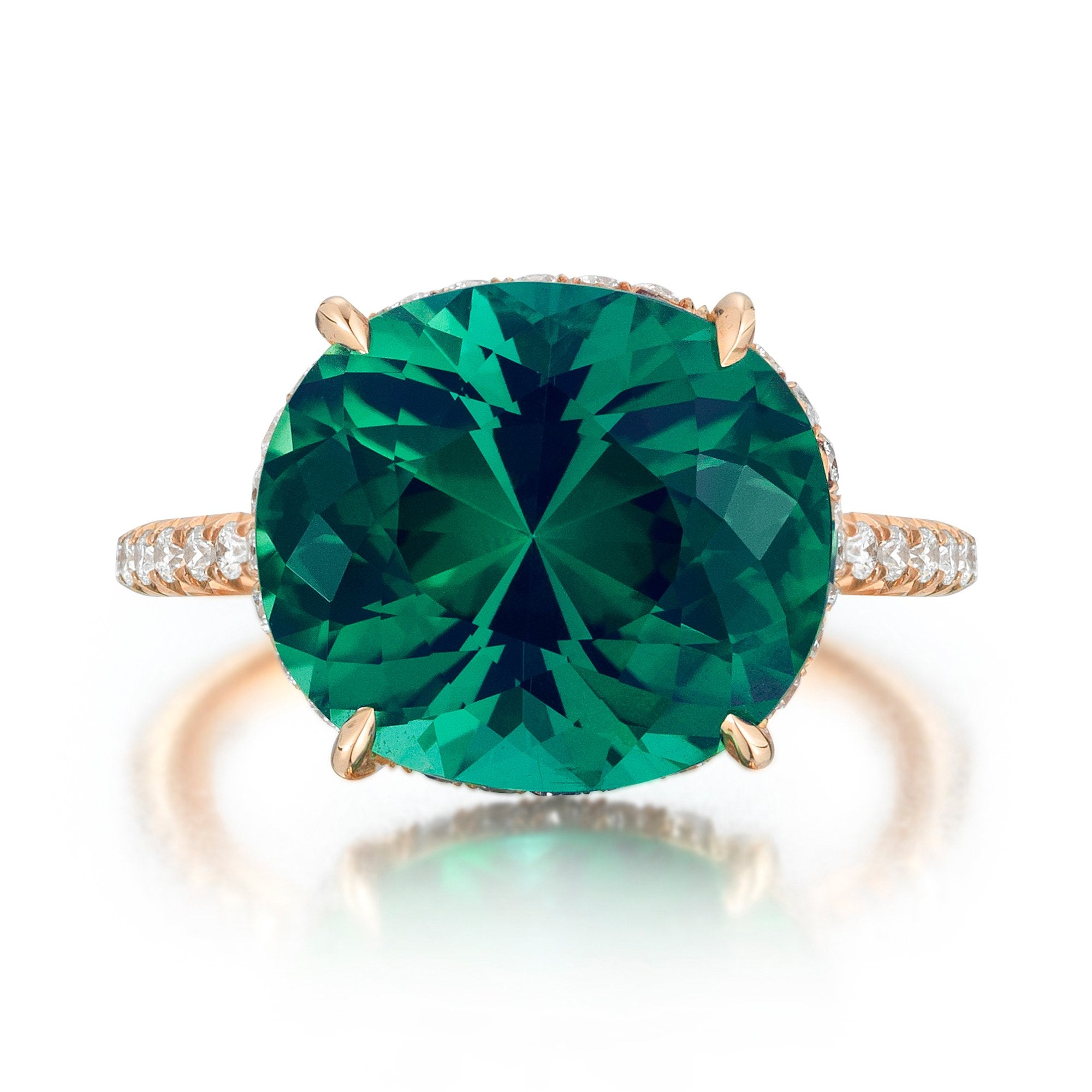 gold white rings emeral emerald bishop winsor and diamond ring cluster