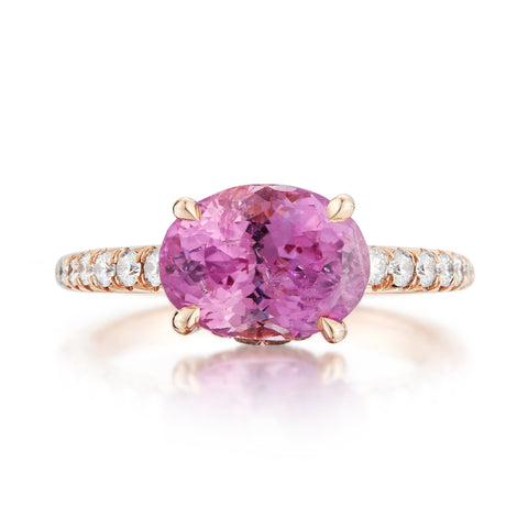 18kt Rose Gold Pink Sapphire and Diamond Ring
