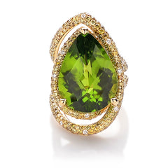 18kt Yellow Gold Peridot and Diamond Cocktail Ring - Paolo Costagli