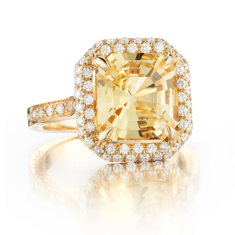 GIA Certified Yellow Asscher Cut Sapphire and Diamond Ring - Paolo Costagli