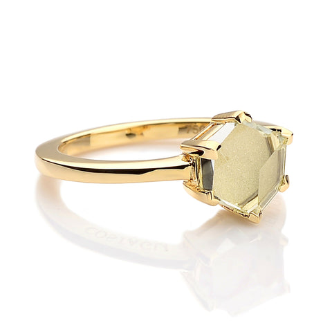 Yellow Gold Green Amethyst Brillante® Valentina Ring, dolce